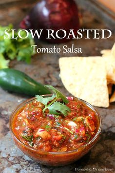 This slow roasted tomato salsa is a smoky alternative to traditional fresh salsa. Makes a great snack when paired with crunchy tortilla chips.