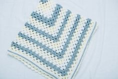 Crochet Granny Square Baby Blanket/ Afghan in by ChezSugarplum