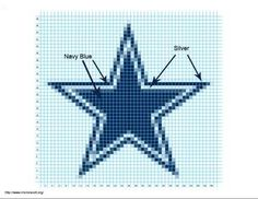 I did have a link for a free Dallas Cowboys afghan graph but the site is now gone & her designs are now for sale only. Here is a graph for the Dallas Cowboys star:Crochet StarI found this free graph: http://www.knittingparadise.com/t-50228-1.html