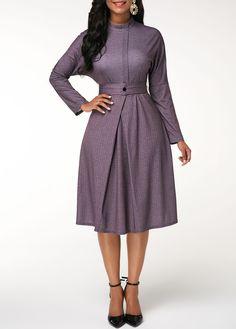 Cheap mock neck Dresses online for sale Women's Fashion Dresses, Dress Outfits, Official Dresses, Necklines For Dresses, Belted Shirt Dress, African Dress, Purple Dress, Elegant Dresses, Flare Dress