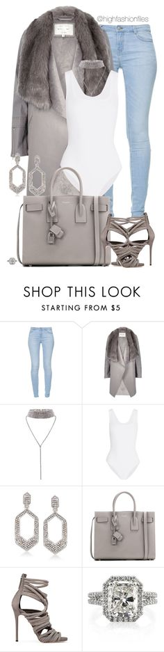 """Grey Sky"" by highfashionfiles ❤ liked on Polyvore featuring Zara, River Island, Alaïa, Ross-Simons and Yves Saint Laurent"