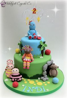 In The Night Garden cake. Garden Theme Birthday, 3rd Birthday Party For Boy, Boys 1st Birthday Cake, Birthday Ideas, Twins 1st Birthdays, Family Birthdays, Cbeebies Cake, Twins Cake, Cake Templates