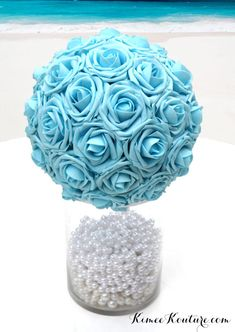 BABY BLUE KISSING BALL  Light Blue Pomander made from real touch roses. You will be amazed at how real and stunning the flowers look. A colored ribbon to match your wedding theme can be added. These look amazing hanging from branches, hooks, chairs in your ceremony and reception, table centerpiece, for your flower girl, Bridal Shower or Engagement Party.  8 flower ball is pictured. VASE SOLD SEPARATELY.  https://www.etsy.com/listing/482066198/silver-rhinestone-candle-...