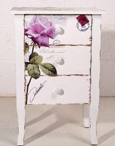 beautiful nightstand with rose transfer