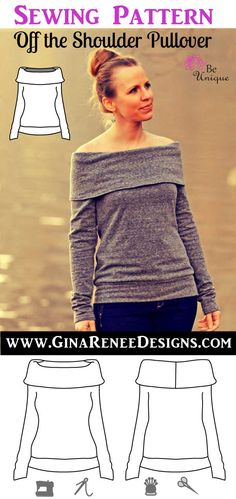 Lovely Off-the-Shoulder Sweatshirt Pattern. The attractive neckline is sure to turn heads. Sweaterer sewing pattern by Gina Renee Designs
