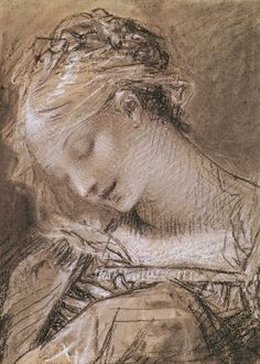"""Pierre-Paul Prud'hon (French, 1758-1823) Head of the Virgin. (charcoal and white chalk on paper) Musée des Beaux-Arts, Dijon, France. """