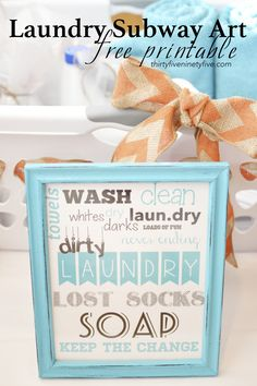 Laundry Subway Art Free Printable | 3595