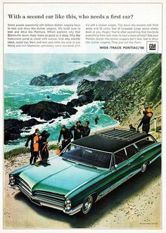 1966 Pontiac Bonneville Station Wagon at the Beach vintage ad classic car Rat Rods, Pontiac Cars, Pontiac Bonneville, Car Posters, Car Advertising, Us Cars, Diesel, Station Wagon, Vintage Ads