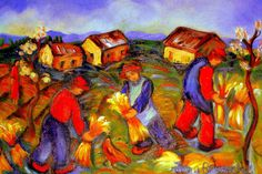 HARVESTERS.OIL ON CANVAS Canvas, Paintings, Oil, Paint, Painting Art, Painting, Canvases, Drawings, Toile
