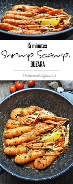 Scampi Buzara (Shrimp in Red Tomato Wine Sauce) - you need just 15 minutes of…