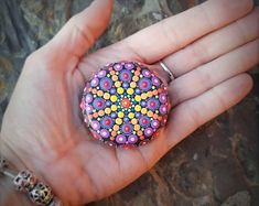 Hand Painted Mandala Basalt Stone - original one off painted rock Acrylic Chakra Painting (MS045)