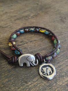 Good Luck Elephant Leather Wrap Boho Chic $30.00