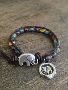 Good Luck Elephant Leather Wrap Boho Chic $30.00