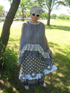Handmade upcycled Lagenlook/Bohemian 2 pieces polka dots tunic