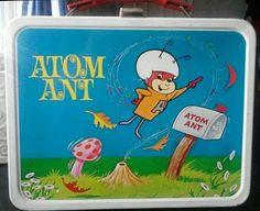 Atom Ant Antique Lunch Box  (1966 Vintage Metal Lunchbox & Thermos, Secret Squirrel)