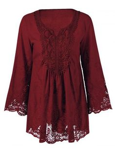 Plus Size Lace Patchwork Peasant Blouse - 2XL WINE RED Mobile