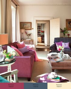 Catchy Living Room Designs With Purple Accents - HomyBuzz Colourful Living Room, Meet Friends, Purple Accents, Calming Colors, Living Room Paint, Happy Colors, Living Room Designs, Interior Decorating, Decorating Ideas