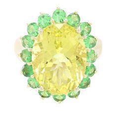 Bague sertie d'un Quartz de l'Ouro Verde et de Grenats tsavorites - 5061KY | Juwelo Bijouterie