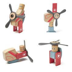 Helicopter Magnetic Block Set   wooden toys for kids, children   UncommonGoods