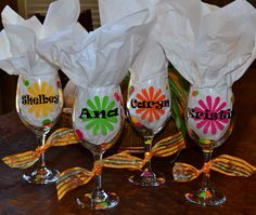 Wine glass for party or group TWO SIDED by belleoftheballdesign