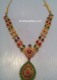 Gemstones Haram photo Gold Jewellery Design, Gold Jewelry, Statement Jewelry, Jewelry Model, India Jewelry, Neck Piece, Necklace Designs, Beaded Necklace, Necklaces