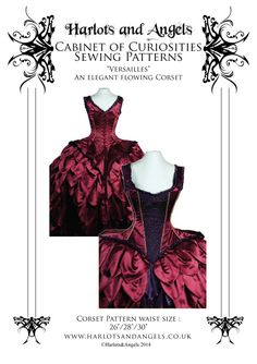 """Versailles Corset pattern. Rococo style flared tails. Medium 26 -28 30 """" finished corsets - Harlots and Angels"""
