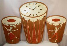 Vintage Gravel Art BONGO Drum CLOCK & DANCERS 3 PC Set 1960s Tiki Retro Kitsch