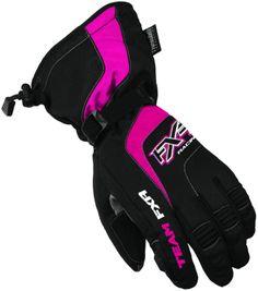 Fxr women s nitro girl glove black fuchsia snowmobile gear