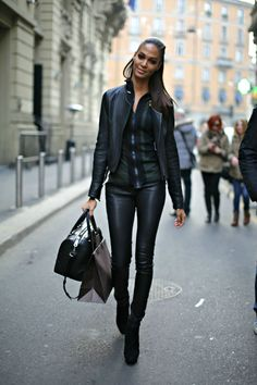 Euro street chic clad in leather from head to toe. ::M::