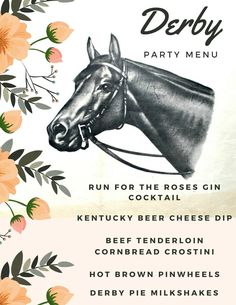 Kentucky Derby Party Menu — Miss Molly Vintage Kentucky Derby Food, My Old Kentucky Home, Race Party, Derby Party, Derby Dinner, Bourbon, Derby Pie, Derby Horse, Run For The Roses