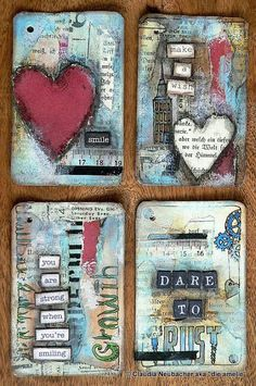 Welcome back for another 52 Card Pick Up Session! Cards 13 to 24 are meant to combine doodling with mixed media techniques which opens new . Art Journal Pages, Journal Cards, Art Journals, Atc Cards, Card Tags, Paper Art, Paper Crafts, Art Trading Cards, Mix Media