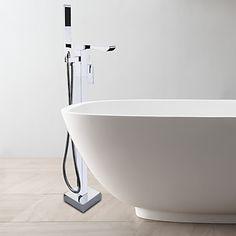 Moderne Gulv Monteret Håndbruser inkluderet Gulvstående with Keramik Ventil Enkelt håndtag Et Hul for Krom Badekarshaner