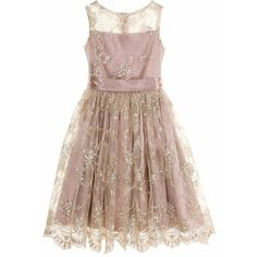 Little Wardrobe London - The Audrey Dress Taupe ($255) ❤ liked on Polyvore featuring dresses, lace cocktail dresses, birthday dresses, lace dress, special occasion dresses and embroidered cocktail dress