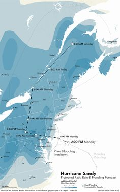 Hurricane Sandy: Projected Path, Rain & Flooding Forecast by NOAA as of 4PM EST 10/29/12 via huffingtonpost. Hope everyone stays safe. #Infographic #Hurricane_Sandy