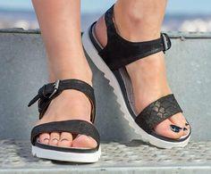 black Genuine Leather Wedges Sandals/genuine leather sandals/