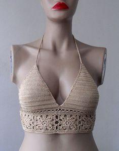 FREE SHIPPING Crochet bikini top-bustier Women by formalhouse