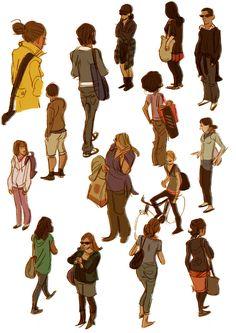 Variety of models. Women, men. People. Crowd. Life drawing