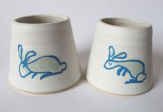Rabbit egg cups from Fishink on Etsy