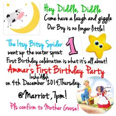 Nursery Rhyme Story Book First Birthday Party Invitation featuring