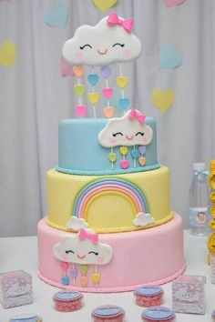 new ideas for birthday cake girls rainbow baby shower Rainbow Birthday, Birthday Cake Girls, Rainbow Baby, Baby Birthday, Cake Rainbow, Rainbow Cloud, Rainbow Theme, Birthday Cupcakes, Baby Shower Cakes