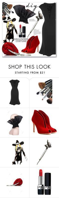 """DIY Halloween Costume"" by jecakns ❤ liked on Polyvore featuring Gianvito Rossi, Yves Saint Laurent, Christian Dior, vintage, eveningdress, halloweencostume, DIYHalloween and blackdres"