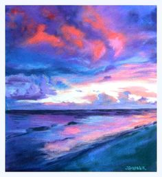 Sunset Seascape Pastel - Sunset Seascape Fine Art Print by Sue Gardner - Blues and Pinks