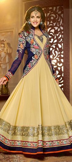 BRIDAL WEAR - check out the best of #anarkali gowns for your wedding. Order this one at flat 10% off + free shipping.  #IndianWedding #jacket #bride #beige #partywear #sale