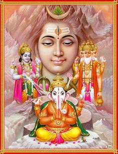 Brahma, Vishnu Shiva and Ganesha - Hindu Posters (Reprint on Paper - Unframed) Shiva Parvati Images, Shiva Hindu, Shiva Art, Hindu Deities, Ganesh Lord, Lord Shiva Statue, Lord Hanuman Wallpapers, Lord Shiva Hd Wallpaper, Shiva Shankar