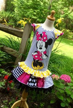 Minnie Mouse Upcycle Ready to Ship by Bridgetandcompany on Etsy Free Studio, Flutter Sleeve, Upcycle, Minnie Mouse, Diy And Crafts, Unique, Disney, Creative, Fabric
