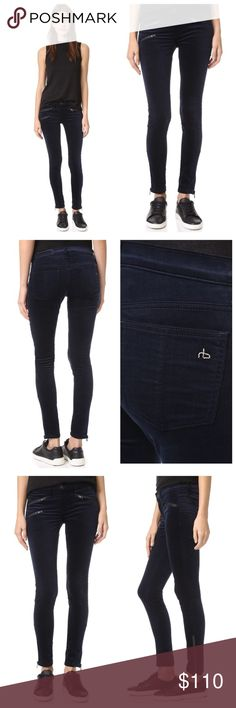 """❤FREE SHIPPING Rag & Bone Velvet Moto Jeans NWOT Rag & Bone/JEAN pants currently retail for $275 // 3 exposed edgy zip pockets. Exposed ankle zips. Patch back pockets. Button closure & zip fly. Navy Stretch velvet 68% cotton/30% rayon/2% spandex Made in the USA Waist: 13"""" Inseam: 28.75"""" // 🎈FREE SHIPPING🎈(Just submit an offer $6 below selling price) // 15% off on bundles. I ship same-day from pet/smoke-free home. Buy with confidence. I am a top luxury seller with close to 400 5-star…"""