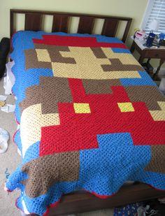 8-bit Mario afghan blanket by BunnySuitDriver on deviantART - Pattern: http://www.pinterest.com/pin/374291419003352199/