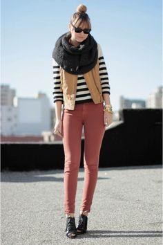 H&M Black Sweaters Zara Charcoal Gray Scarves Zara Mustard Vests American Apparel Brick Red Pants
