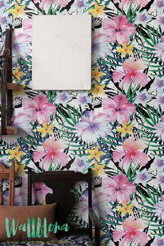 Palm Areca, Hibiscus and Plumeria Print Wallpaper | Removable Wallpaper | Wall Sticker | Hibiscus and Palm Areca Self Adhesive Wallpaper