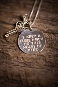 A new take on the original, this Silver Johnny Cash Necklace showcases a hand-stamped sterling silver circle with pewter gun charm, hung on a sterling silver box chain. Johnny Cash reminds us to keep a close watch on our hearts. Jewelry Box, Jewlery, Jewelry Accessories, Ammo Jewelry, Body Jewelry, Unique Jewelry, Johnny Cash Necklace, Bourbon And Boots, To Infinity And Beyond